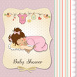 baby shower card with little baby girl play with her teddy bear