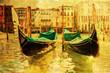 nostalgisches Bild von Gondeln auf dem Canale Grande