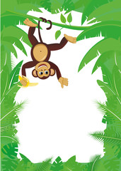 Frame from tropical leaf with monkey on liana with banana