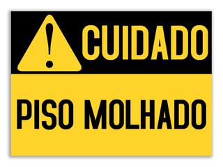 Cartaz de aviso - piso molhado