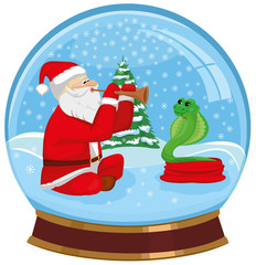 Glass sphere with Santa Claus taming a snake
