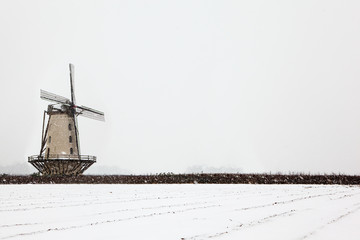mill and landscape in snow