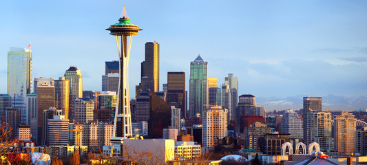 Seattle skyline panorama at sunset, WA, USA