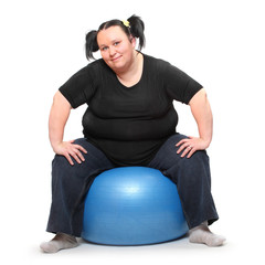 Overweight woman on a white background.