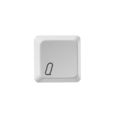 The letter Q from a white computer keyboard