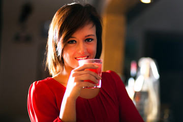 Woman having a drink