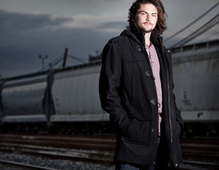 Male Model by a Train