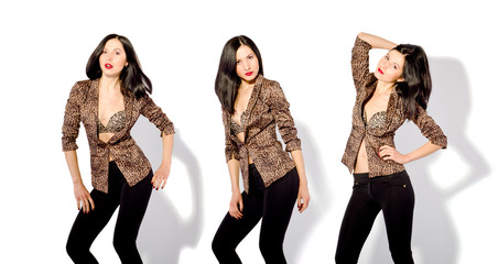Beautiful slim woman in a leopard jacket in three positions
