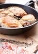 Closeup fried chicken pieces