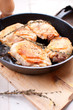 Fried golden chicken with spices and herbs