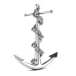 Silver anchor with chain from side