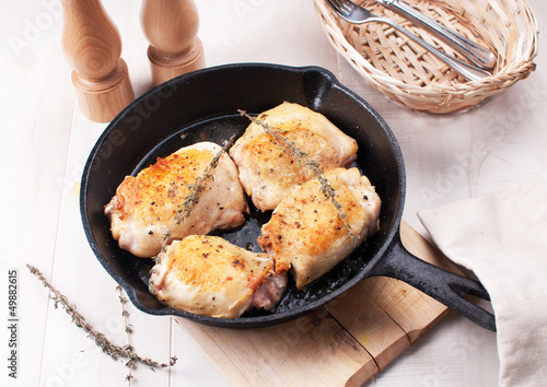 Rustic fried chicken thighs