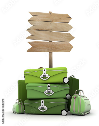 Baggage by wooden sign