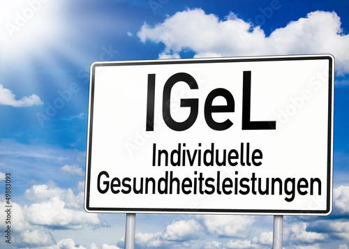 Verkehrsschild in weiß mit IGeL