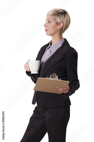 Female office worker isolated on white background.