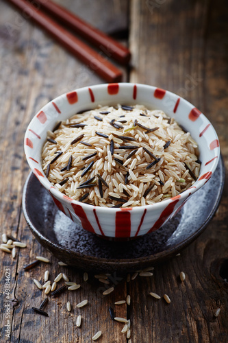 Bowl of brown and wild rice