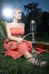 Woman shisha smoker