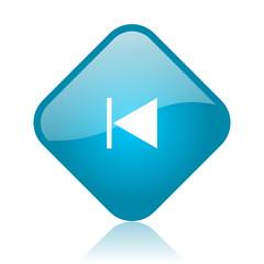 prev blue square glossy web icon