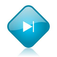 next blue square glossy web icon