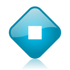 stop blue square glossy web icon