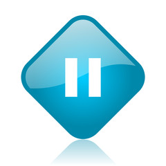 pause blue square glossy web icon