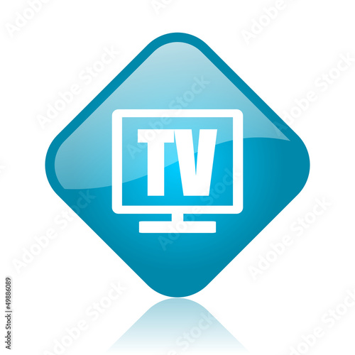 tv blue square glossy web icon