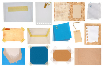 blue paper note, postcard and tags