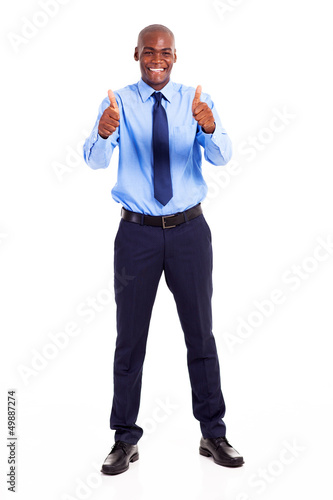 african businessman giving two thumbs up isolated on white