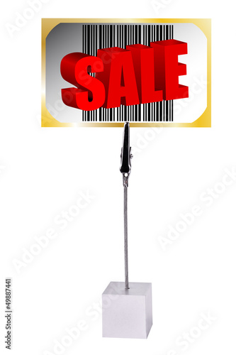 Memo Holder with Sale bar code barcode card