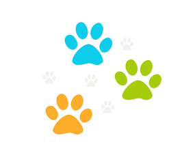 Huellas de mascotas en varios colores