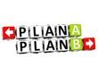 3D Plan A Plan B Button Click Here Block Text