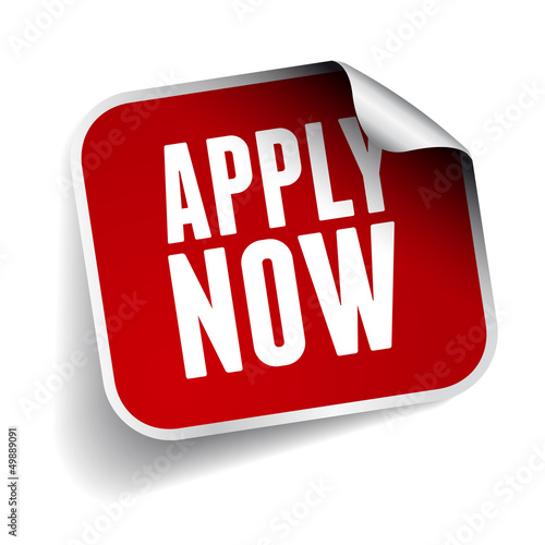 Apply now sticker - red label