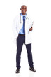 male african medical worker full length portrait on white