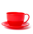 red cup and saucer