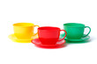 three cups on saucers