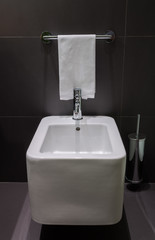 Modern square bidet in bathroom