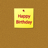 Sticky Note with Happy Birthday Message