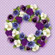 Pansy  Wreath spring Viola flowers, polka dots, pastel lavender