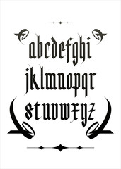 vintage gothic font alphabet with decorations