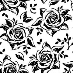Seamless pattern with black silhouettes of roses. Vector.