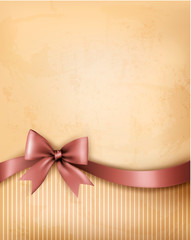 Background with old_paper with gift bow and ribbon.  Vector