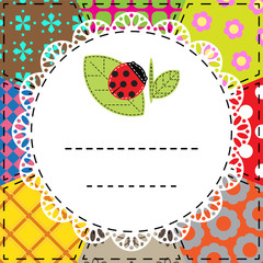 Patchwork background with ladybug