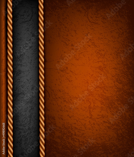 Vintage background with brown and black leather. Vector illustra