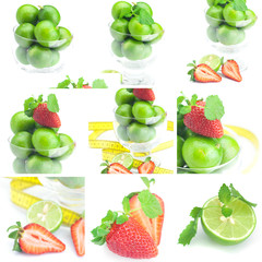 collage of lime in a glass cup, measuring tape, strawberry and m