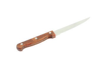 Kitchen knife blade jag from handle on white background.