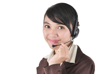 Closeup of a smiling customer service girl, isolated on white