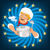 Funny Chef and big saucepan with spoon.Emblem healthy food