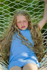 Girl with the Long Fair Hair on the Hammock