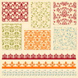 Vector Seamless  Floral Patterns and Lacy Ribbons