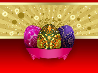 Easter card with three eggs